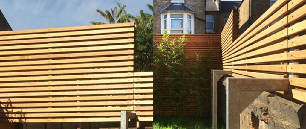 Western Red Cedar Premium Slatted Screen Boards are used to create an elegant architectural fence