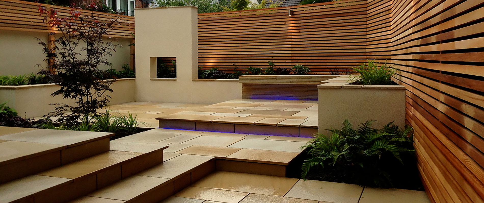 Small Garden Space Enhanced Visually With Horizontal Western Red Cedar Battens